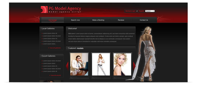 PG Model agency - ready-made modeling agency website. Start your own modeling agency!