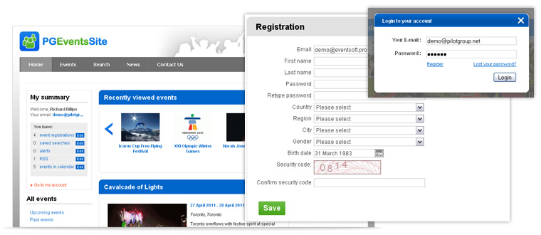 PG Events management software features and benefits