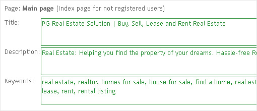 SEO metatags. PG Real Estate solution | Real estate CMS
