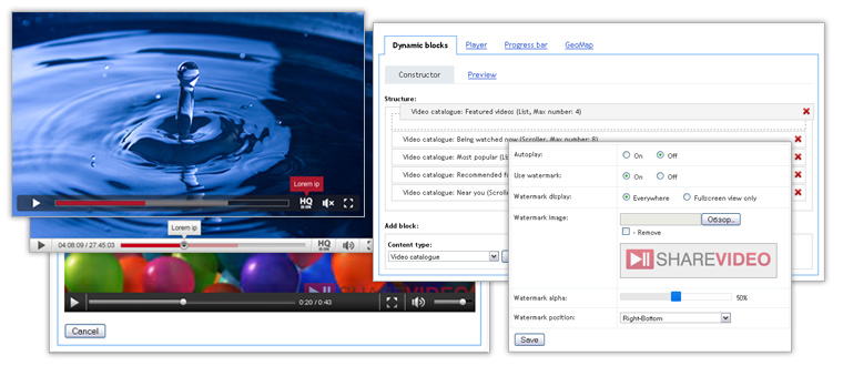 Allsharevideo : interface options of your website like Youitube