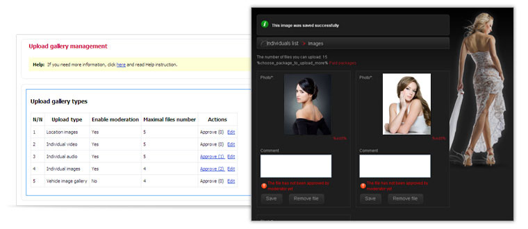 PG Model Agency Script - Photo, video and audio files settings